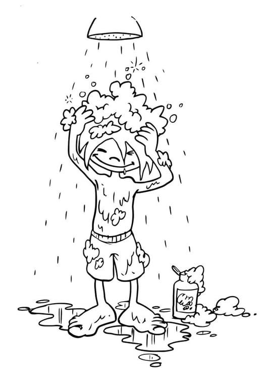 Dibujo para colorear lavarse el pelo - Img 19192