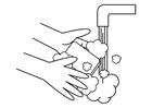 Dibujo para colorear lavarse las manos