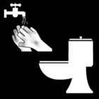 Dibujo para colorear Lavarse las manos tras ir al servicio