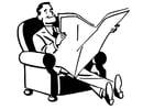 Dibujo para colorear leer el periódico