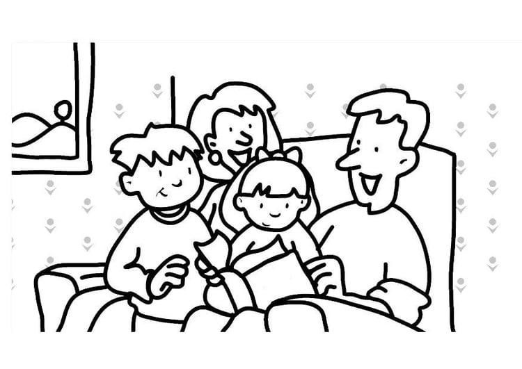 Dibujo para colorear Leer - familia - Img 7307