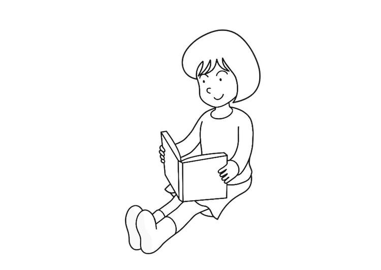 Dibujo para colorear leer un libro - Img 30208