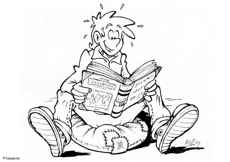 Nino Para Colorear Para Para Un Nino Leyendo Para Colorear: Dibujo Para Colorear Leer Un Libro