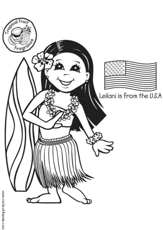 Dibujo para colorear Leilani con bandera americana - Img 5633