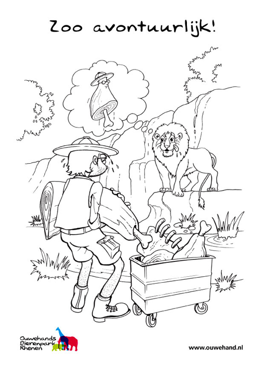 Dibujo para colorear león en el zoo - Img 25573