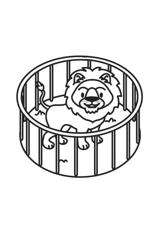 Dibujo para colorear león en jaula - Img 17706