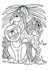 Dibujo para colorear León, jirafa y cebra