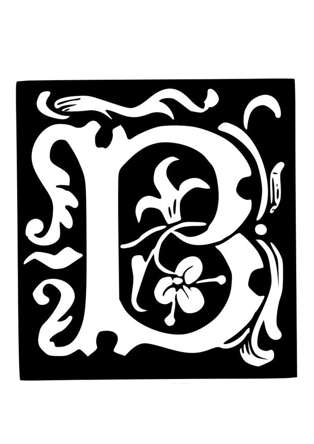 Dibujo para colorear letra decorativa - b - Img 19027