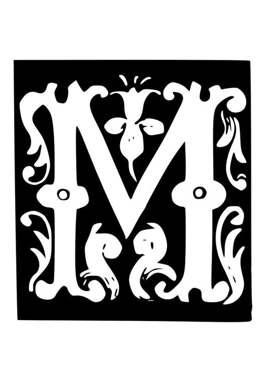 Dibujo Para Colorear Letra Decorativa M Img 19030 Images