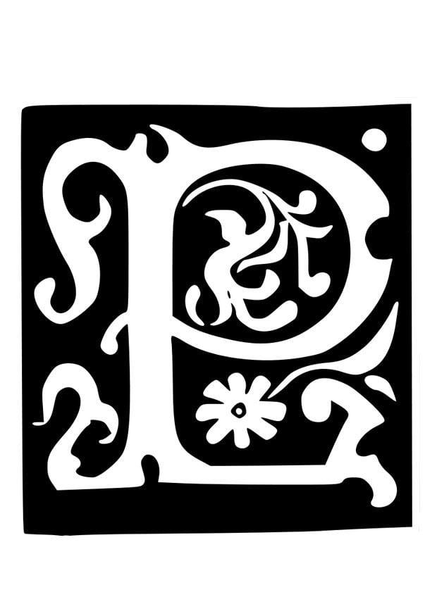 Dibujo para colorear letra decorativa - p - Dibujos Para