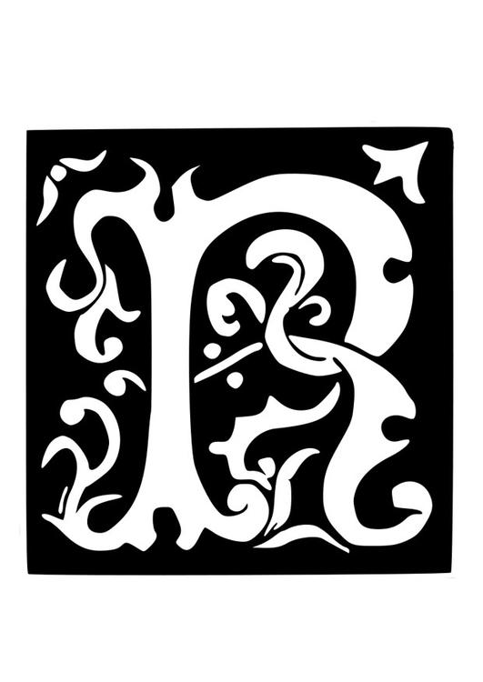 Dibujo para colorear letra decorativa - r - Img 19037
