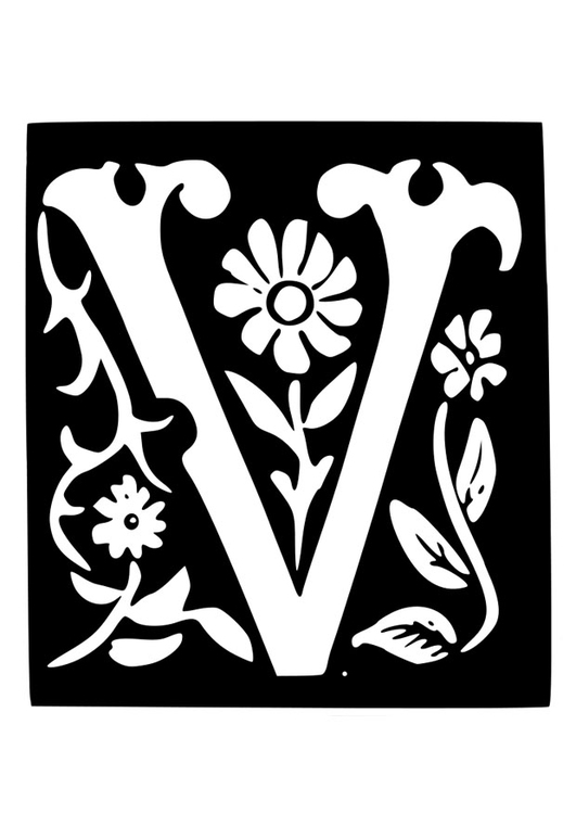 Dibujo Para Colorear Letra Decorativa V Img 19035