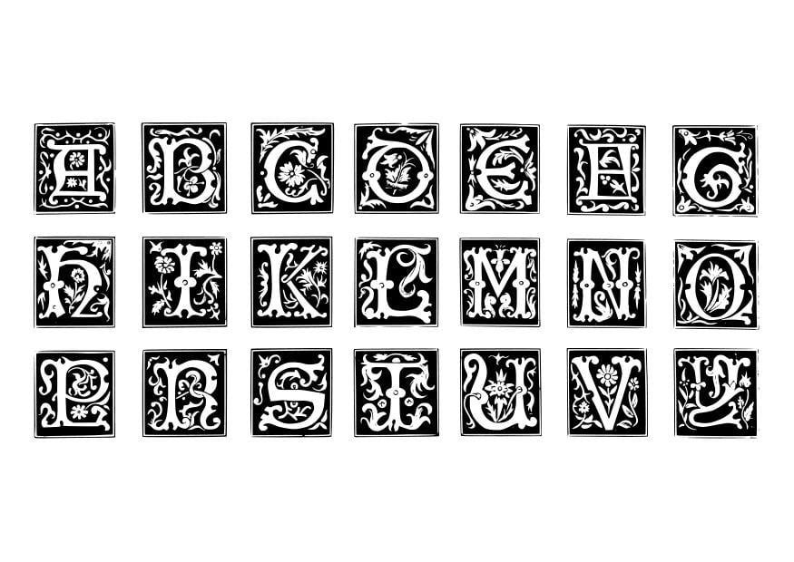 Dibujo para colorear letras decorativas img 19024 - Letras decorativas pared ...