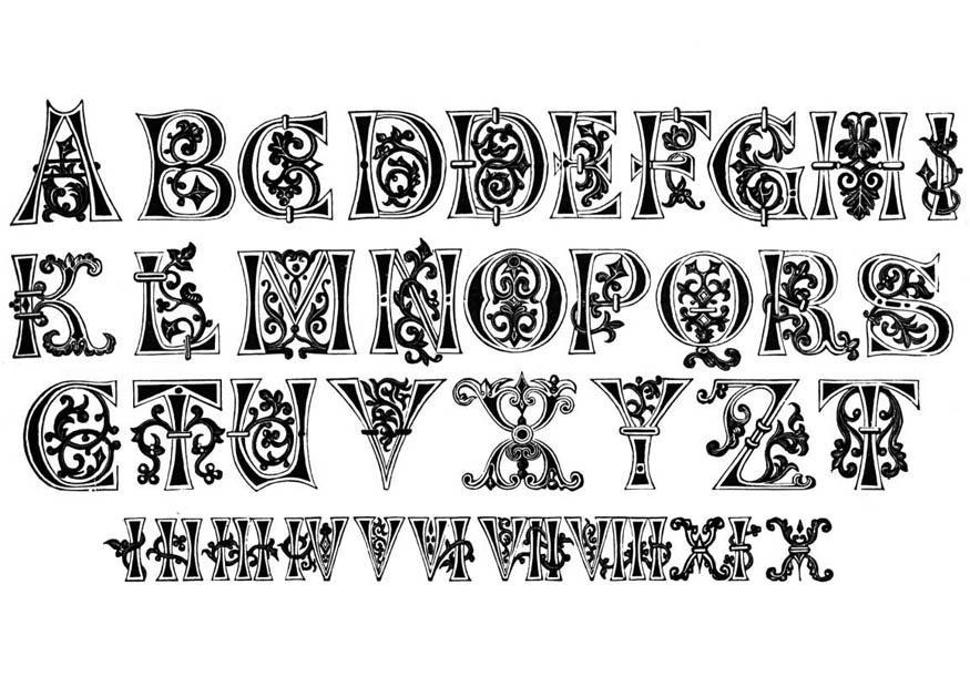 Dibujo Para Colorear Letras Y Números Del Siglo XI