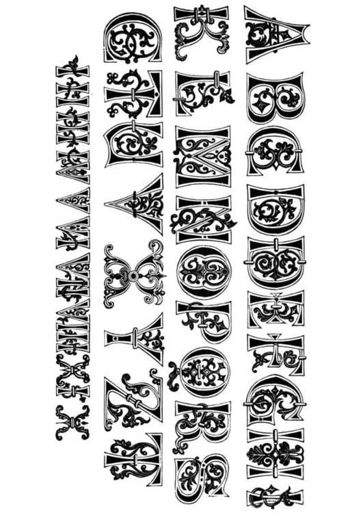 Dibujo para colorear Letras y números del siglo XI - Img 11206