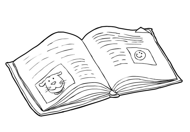 Dibujo para colorear Libro - leer (2) - Img 14984