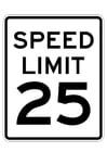 Dibujo para colorear límite de velocidad