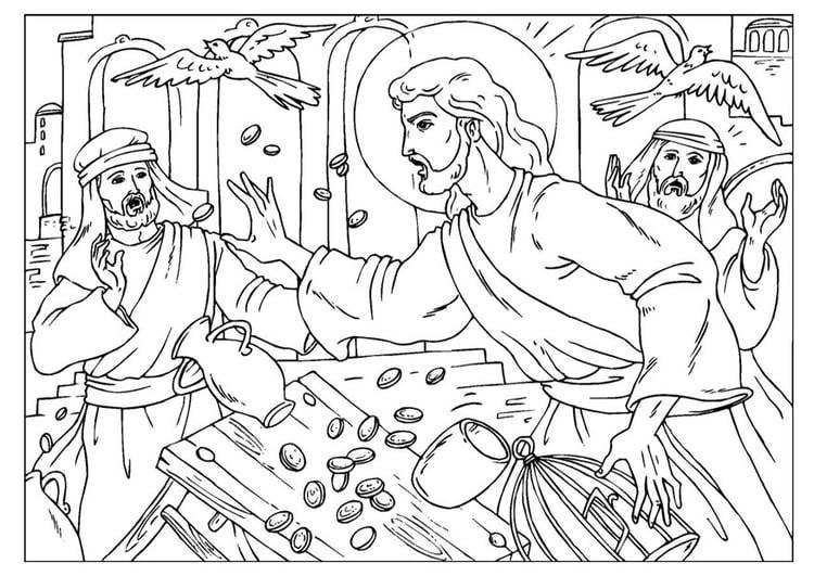 Dibujo para colorear limpieza del templo - Img 25918