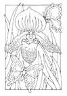 Dibujo para colorear lirio con mariposas