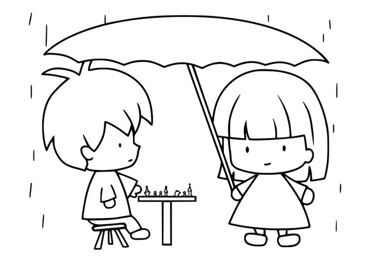 Dibujo para colorear lluvia - Img 30110