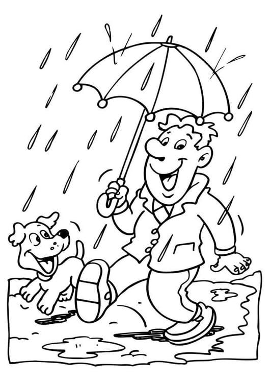 chuva para colorir