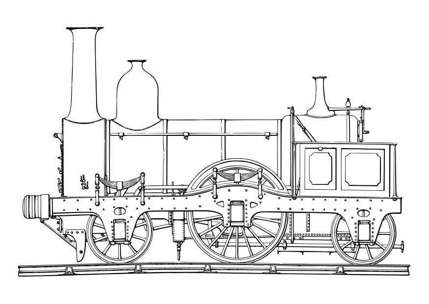 Dibujo para colorear locomotora de vapor - Img 19047