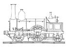 Dibujo para colorear locomotora de vapor