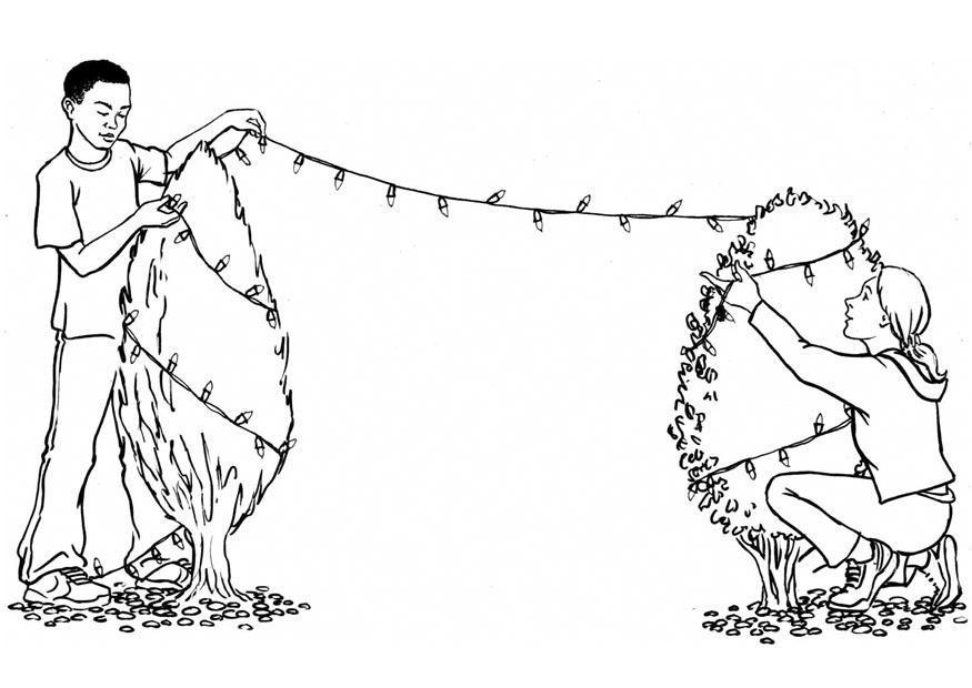 Imágenes Para Colorear De Dibujos De Navidad: Dibujo Para Colorear Luces De Navidad