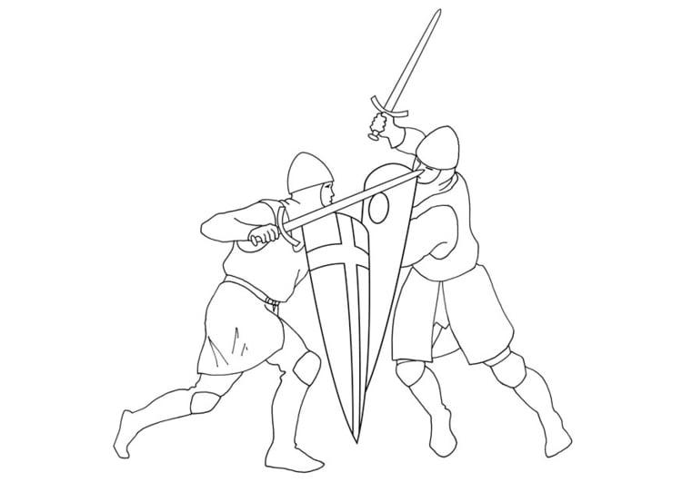 Dibujo para colorear Lucha de espadas - Img 10638