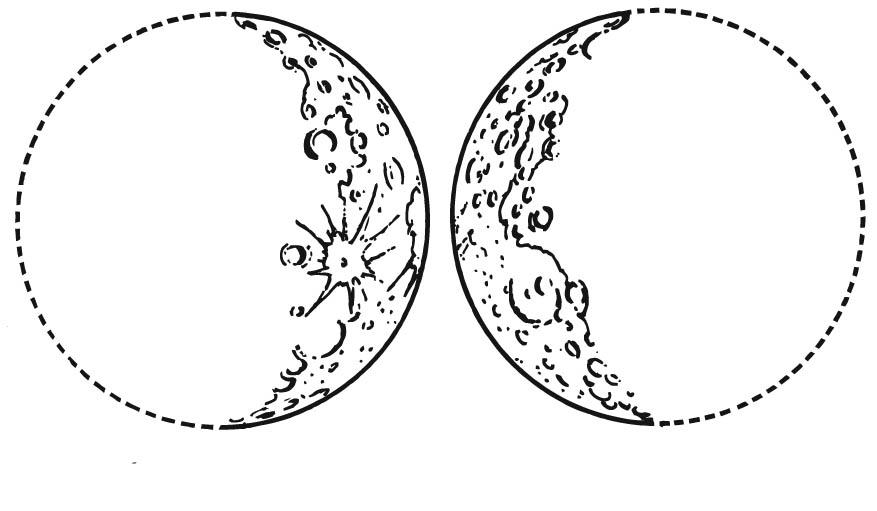 Dibujos De La Luna Para Colorear E Imprimir: Dibujo Para Colorear Luna Creciente Y Luna Menguante