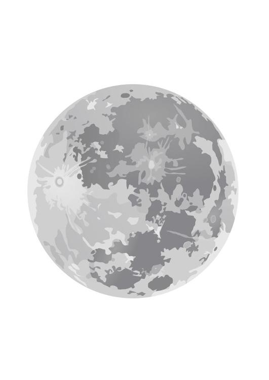 Dibujo para colorear Luna llena  Img 10188