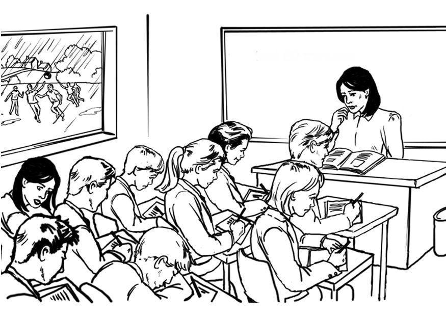 Dibujos De Maestras Para Colorear E Imprimir: Dibujo Para Colorear Maestra Frente A La Clase