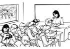 Dibujo para colorear Maestra frente a la clase