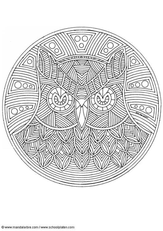 Dibujo Para Colorear Mandala Búho Img 4552