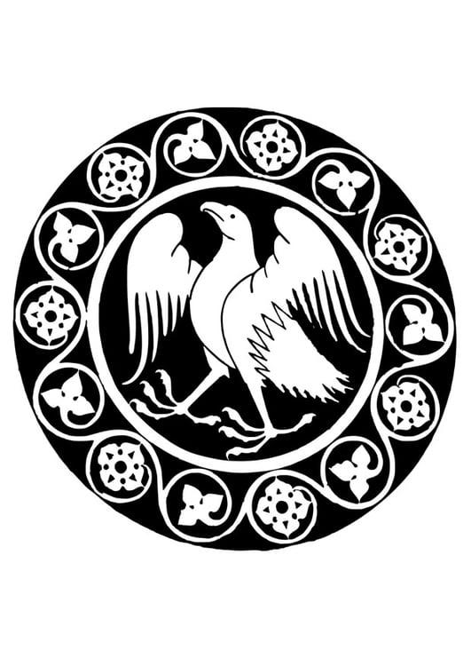 Dibujo para colorear mandala de águila - Img 26335