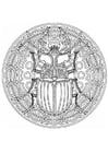 Dibujo para colorear Mandala escarabajo