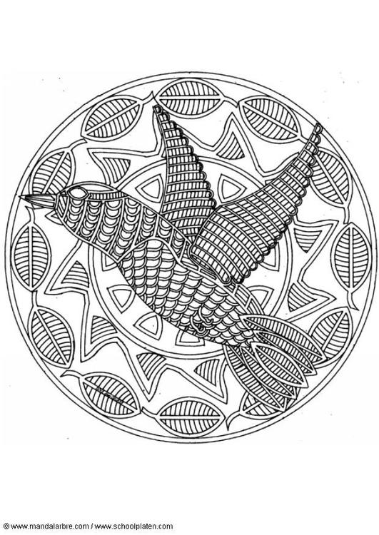 Dibujo para colorear Mandala pájaro - Img 18710