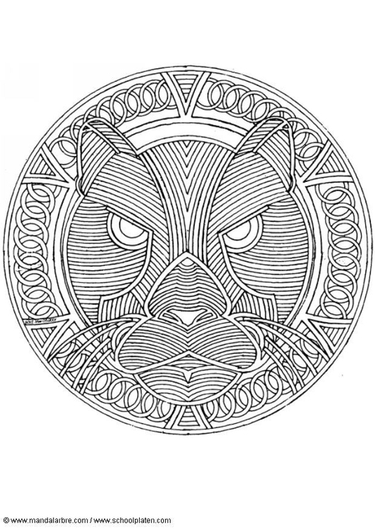 Dibujo para colorear mandala -pantera - Img 4568