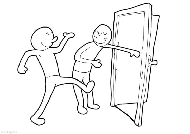 Dibujo para colorear Mantener la puerta abierta - Img 15075