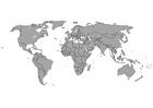 Dibujo para colorear Mapa del mundo con fronteras
