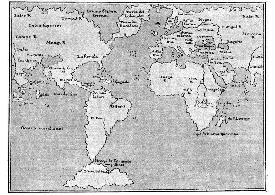 Mapa Del Mundo Para Dibujar: Dibujo Para Colorear Mapa Del Mundo De 1548