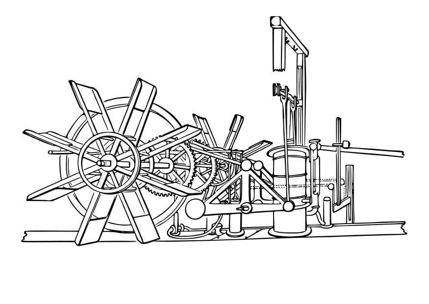 Dibujo para colorear máquina de barco de vapor - Img 29607