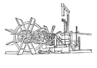 Dibujo para colorear máquina de barco de vapor