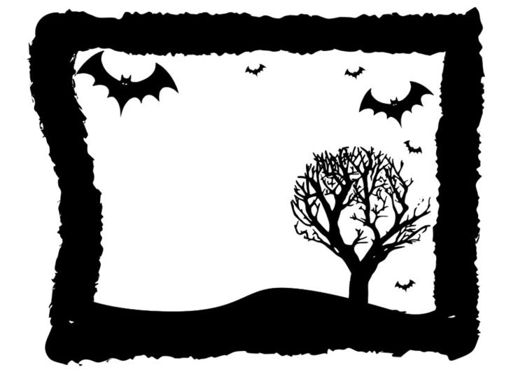 Dibujo para colorear marco de Halloween - Img 19728