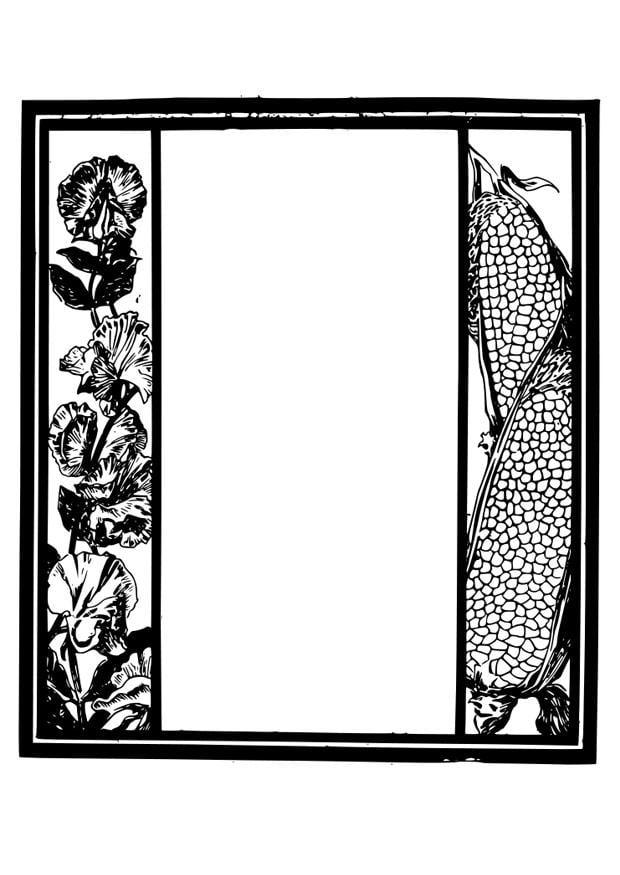 Dibujo para colorear marco - jardín - Img 27919