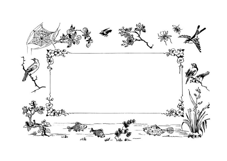 Dibujo para colorear marco naturaleza - Img 28117