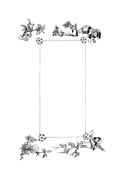 Dibujo para colorear marco retro - Img 28137
