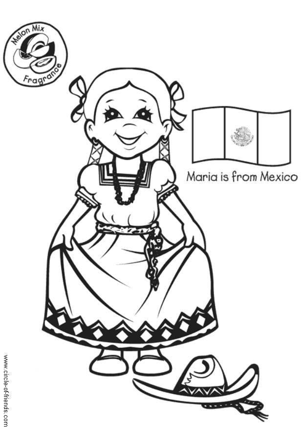 Dibujo para colorear María con bandera mexicana - Img 5636