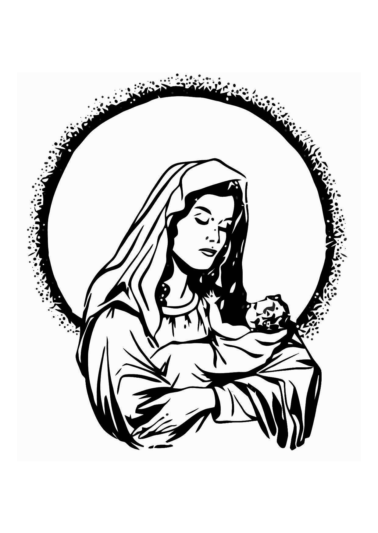 Dibujo para colorear María y Jesús - Img 11344