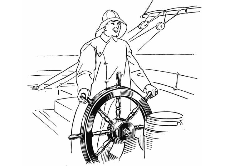 Dibujo para colorear Marinero en timón - Img 13231